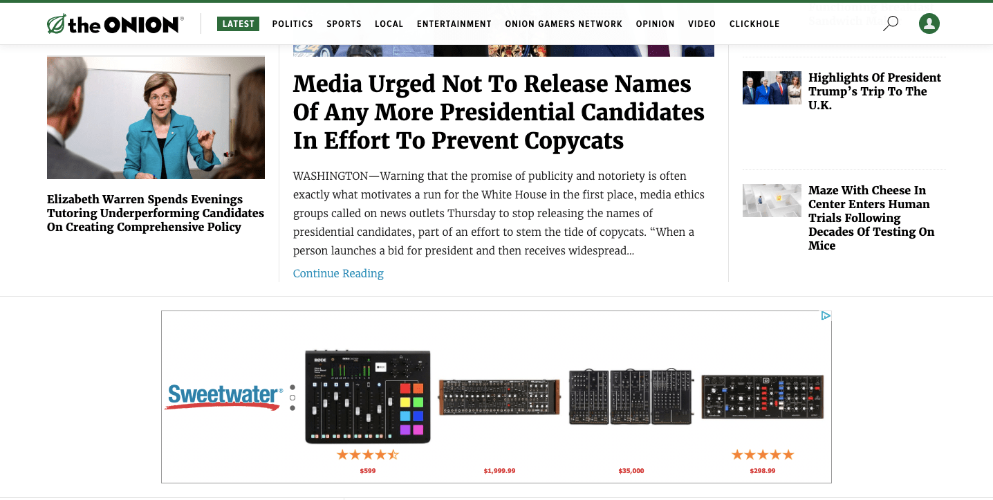 Homepage of the Onion.