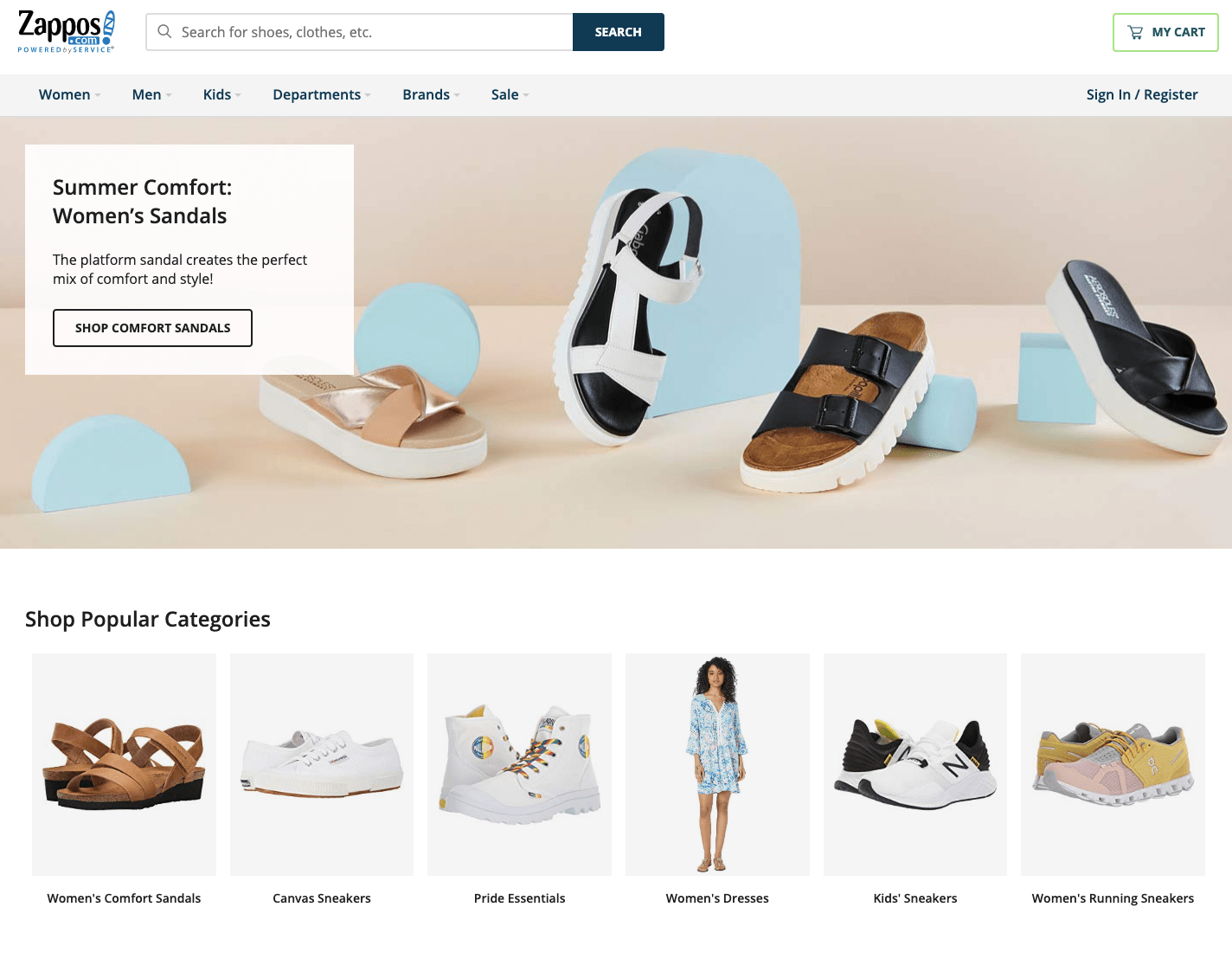 Zappos homepage.