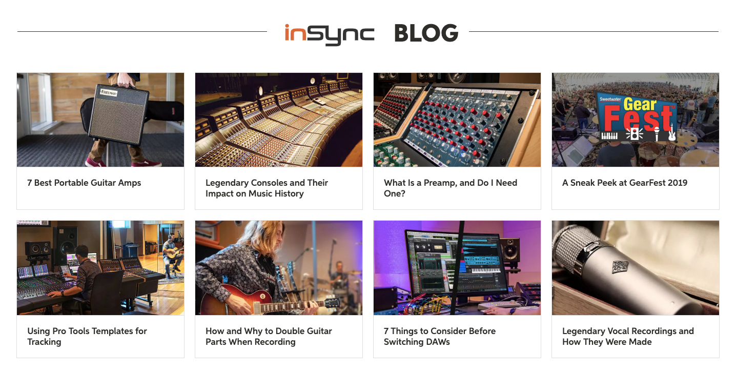 Sweetwater's inSync blog landing page.