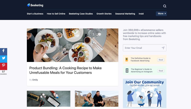 Beekting blog landing page.