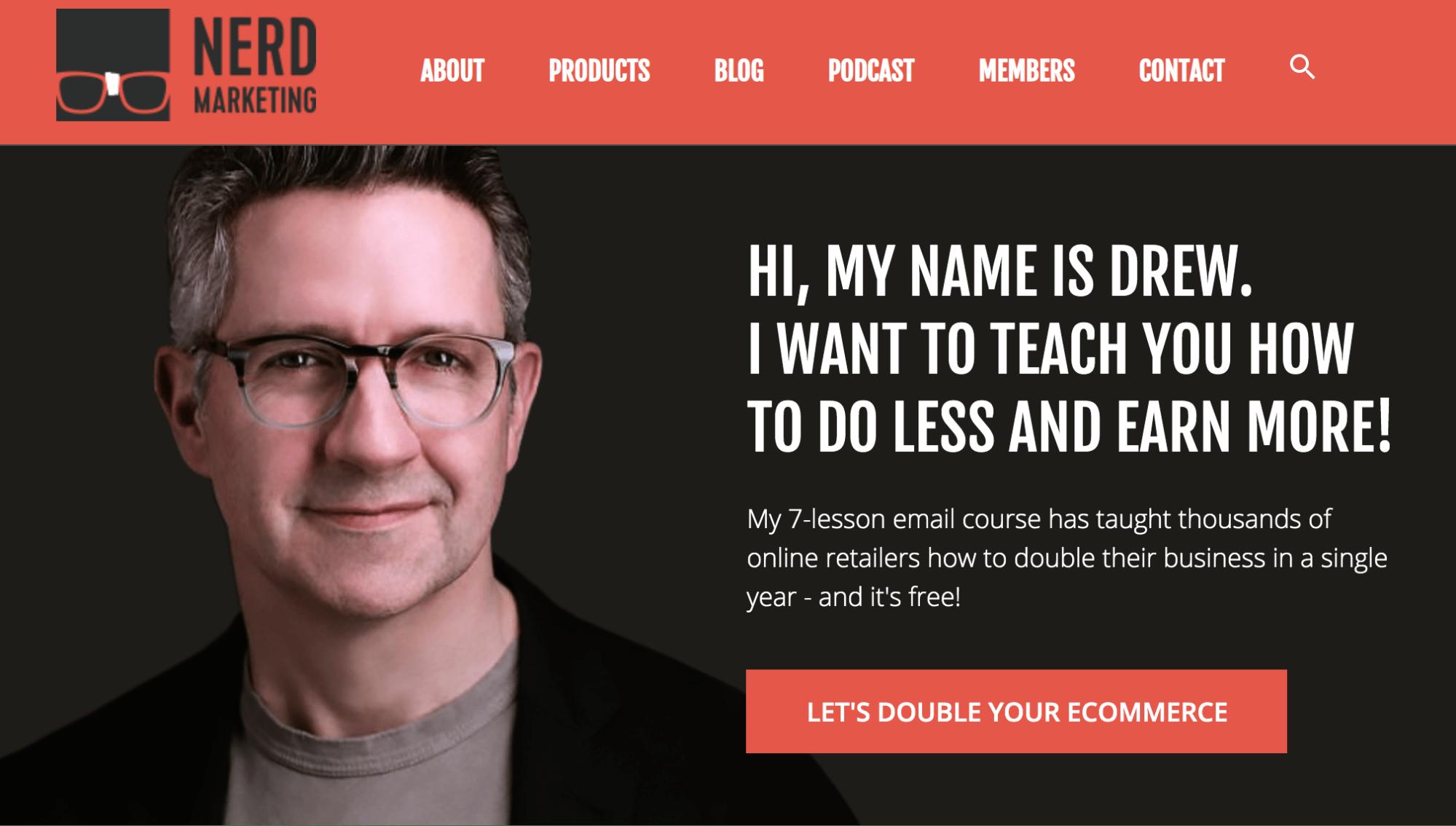 Nerd Marketing blog landing page.