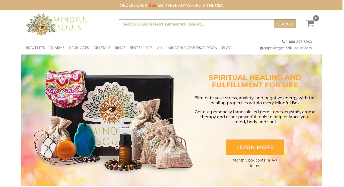 Mindful Souls homepage.