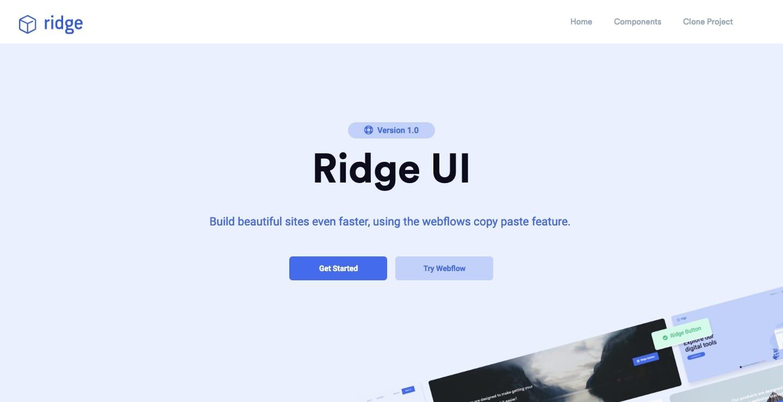 Ridge UI Webflow showcase page
