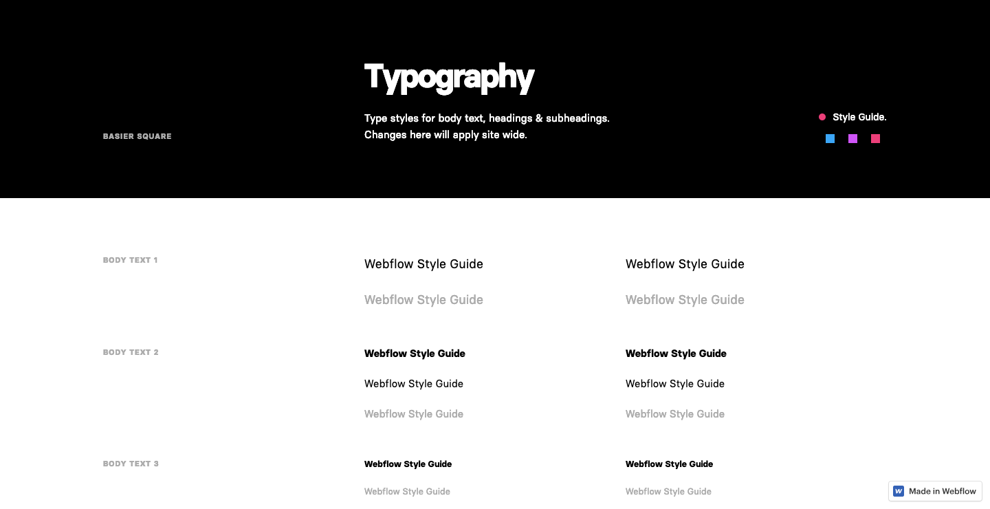 Style Guide Webflow showcase page