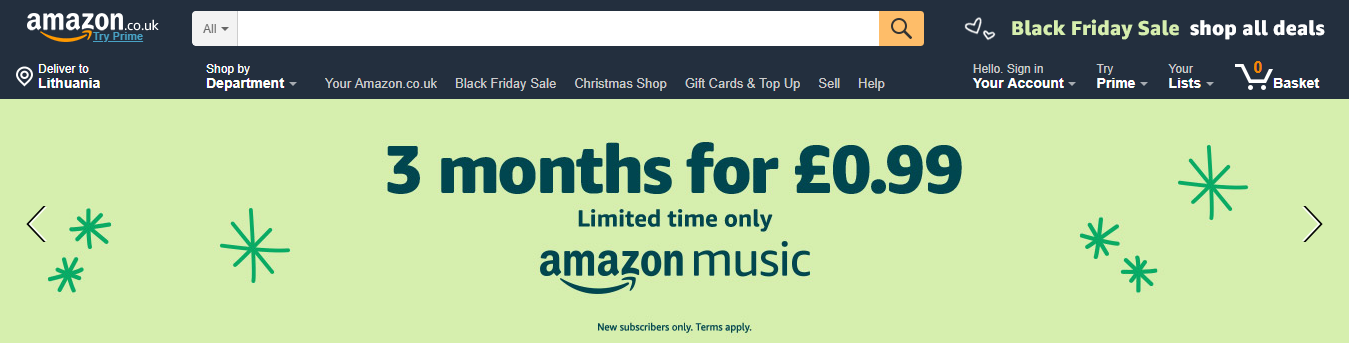 """Top navigation on amazon.co.uk with the shopping cart icon labelled """"basket"""" in the upper farthest right."""