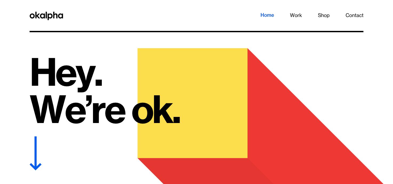 Okalpha homepage.