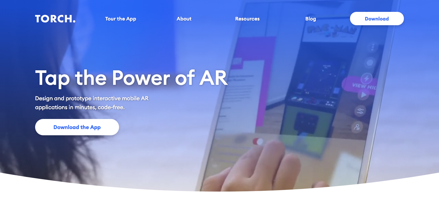 Torch AR homepage.