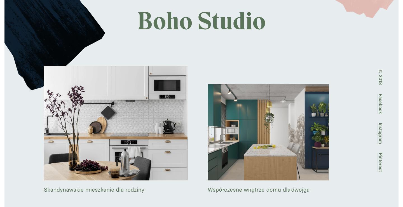 Boho Studio homepage.