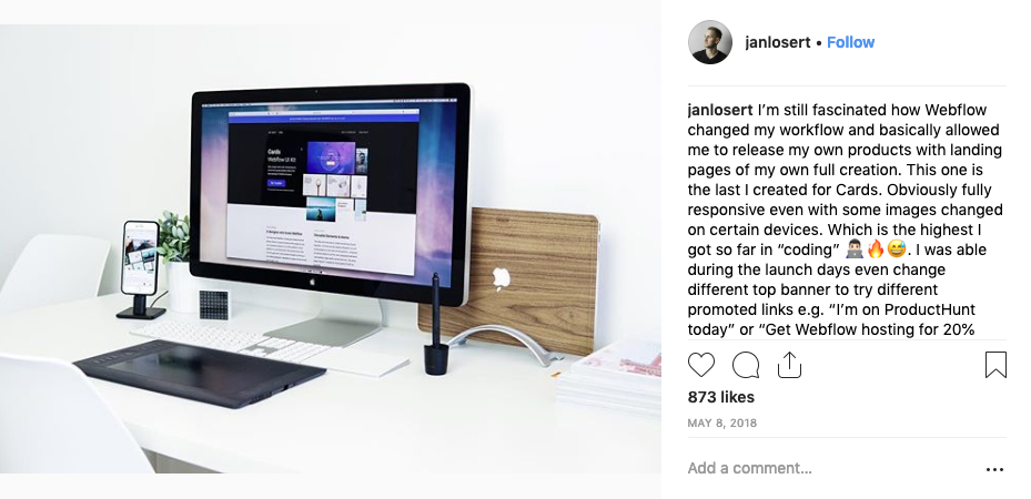 Jan Losert Instagram post from May 8th showing Cards UI kit homepage on desktop display.
