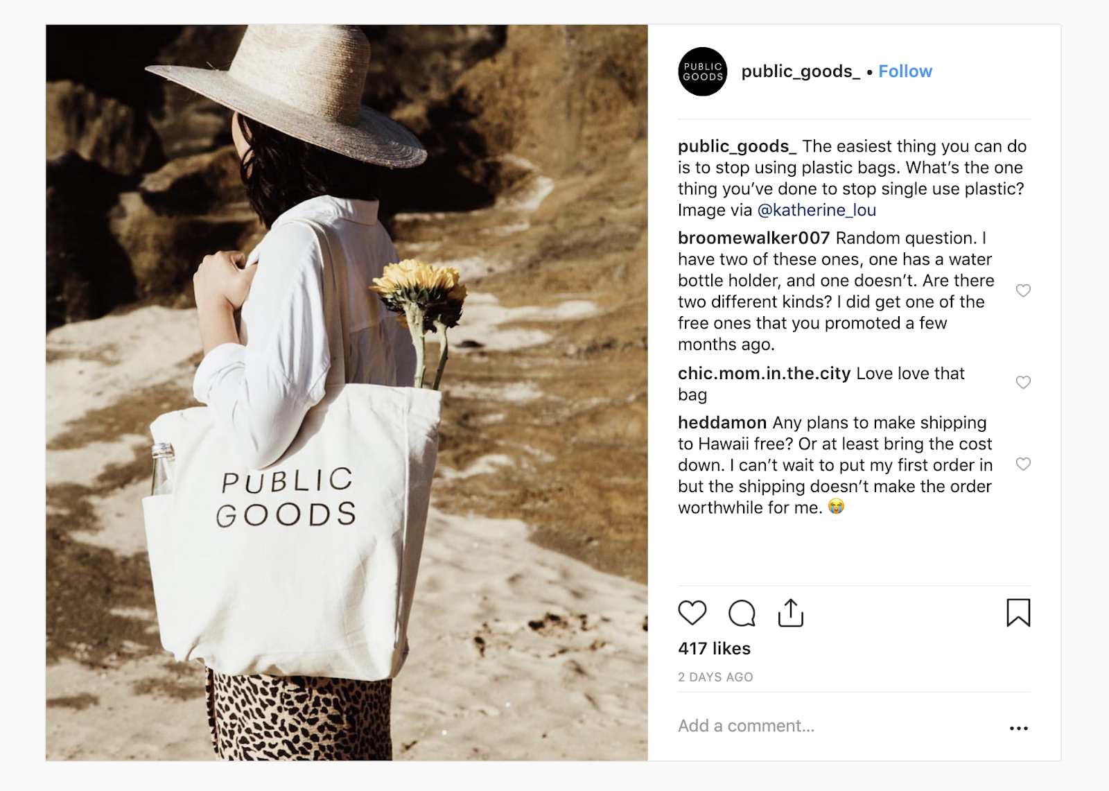 """Public Goods instagram photo of a woman at the beach, carrying a branded Public Goods bag. The caption reads: """"The easiest thing you can do is to stop using plastic bags. What's the one thing you've one to stop using single-use plastic?"""""""