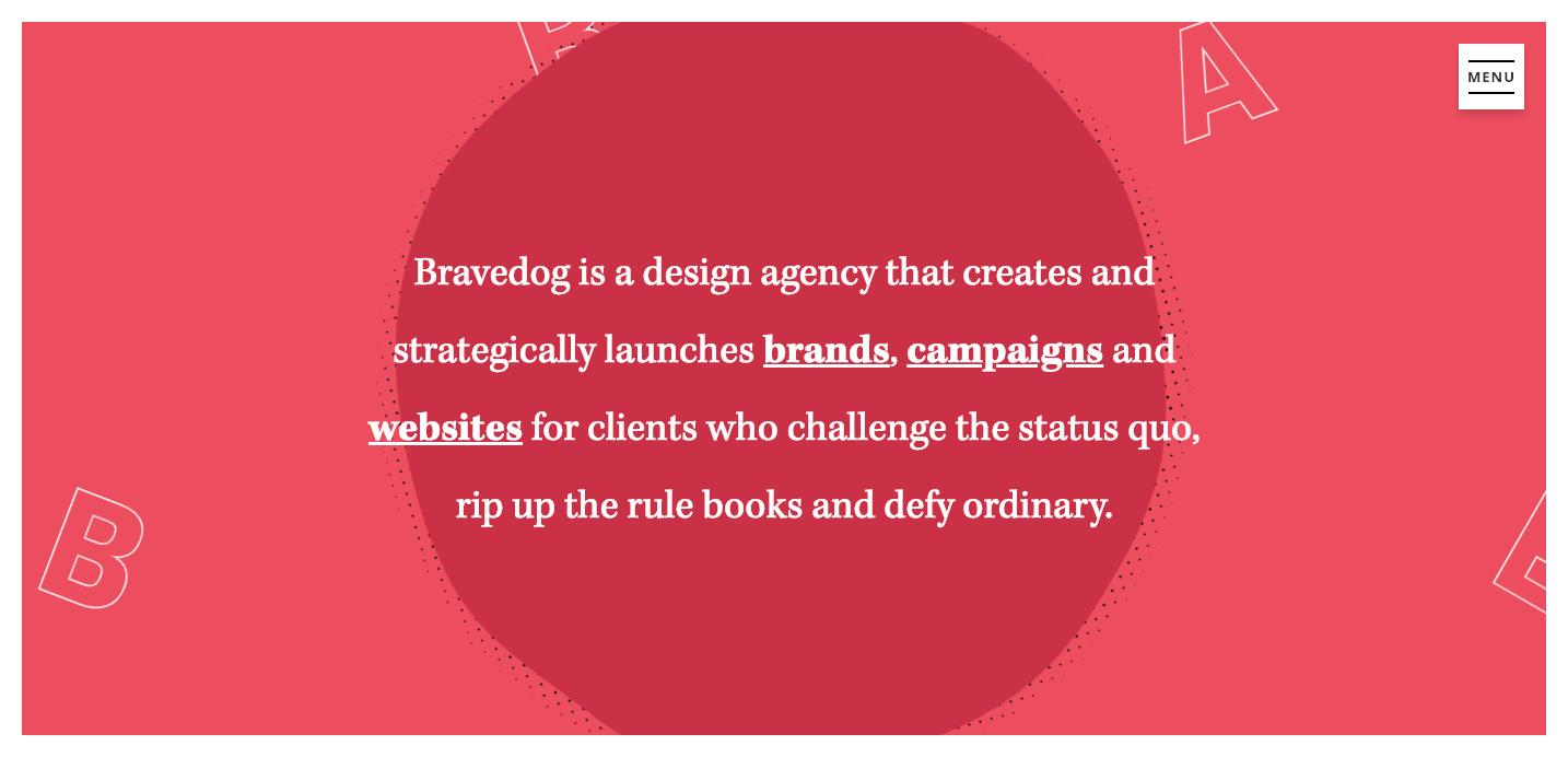 Bravedog homepage.