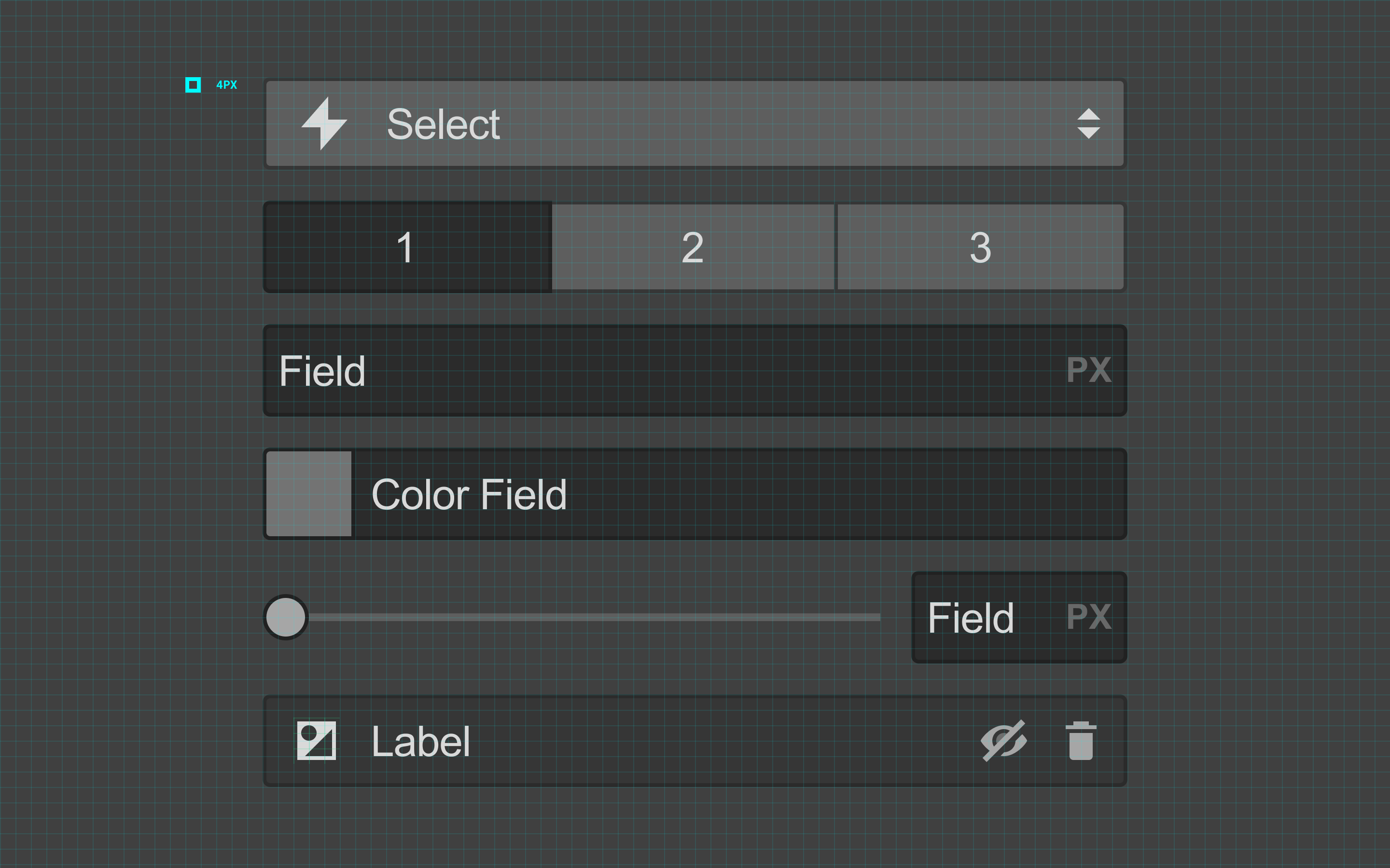 The Webflow Designer UI with a 4-point grid overlay.