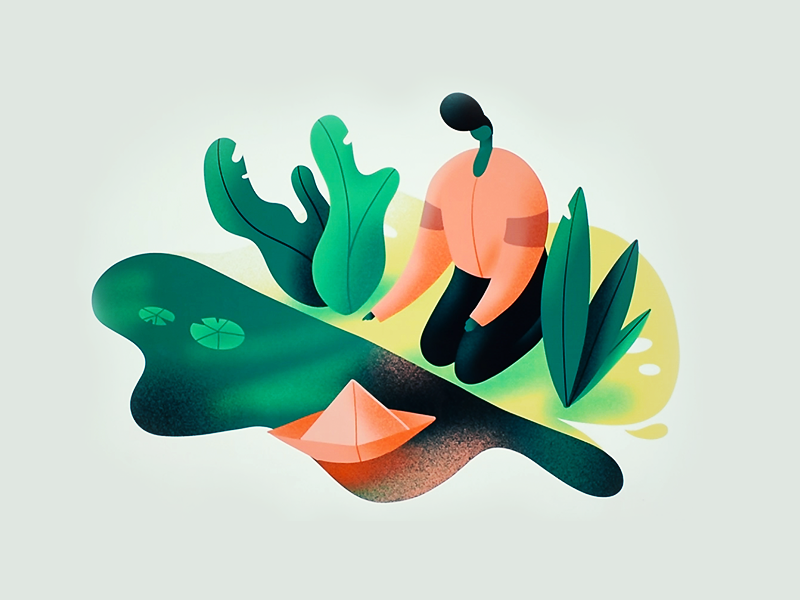 Cut-out style illustration of a genderless figure kneeling beside a pond where a paper sailboat floats.
