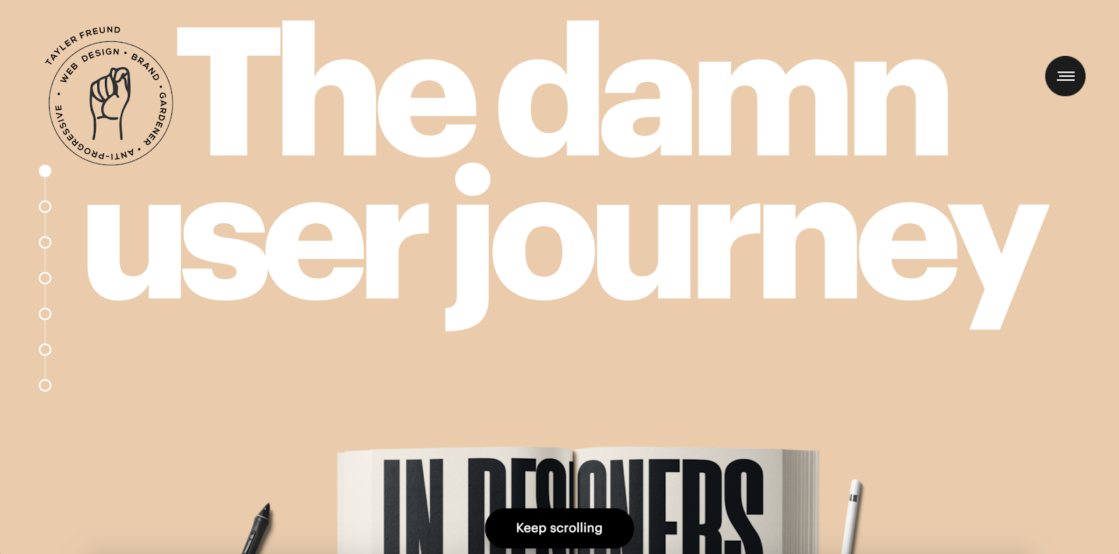 """""""The damn user journey"""" fills the hero section of Tayler Freund's landing page."""