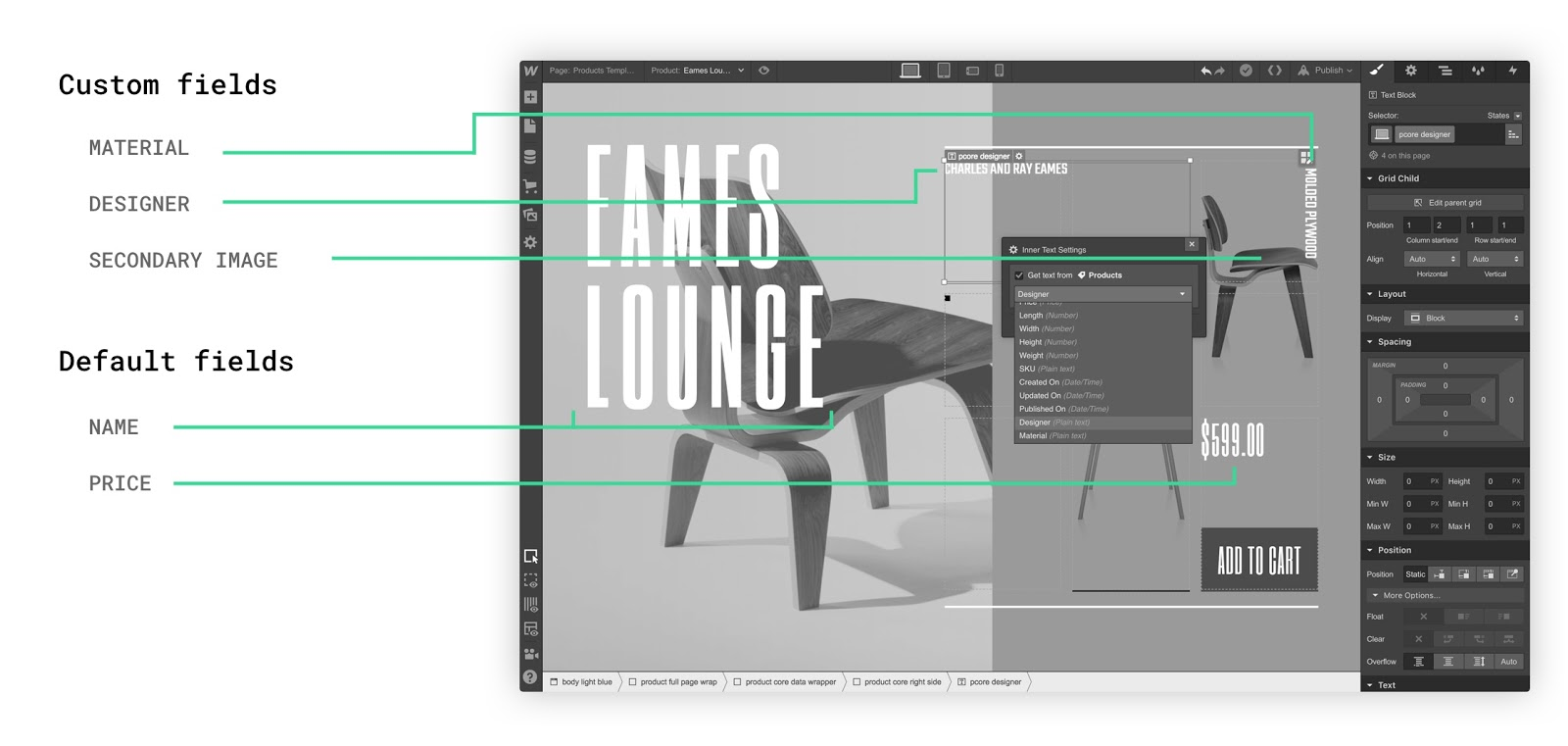 Connect your custom fields to any elements in your design.