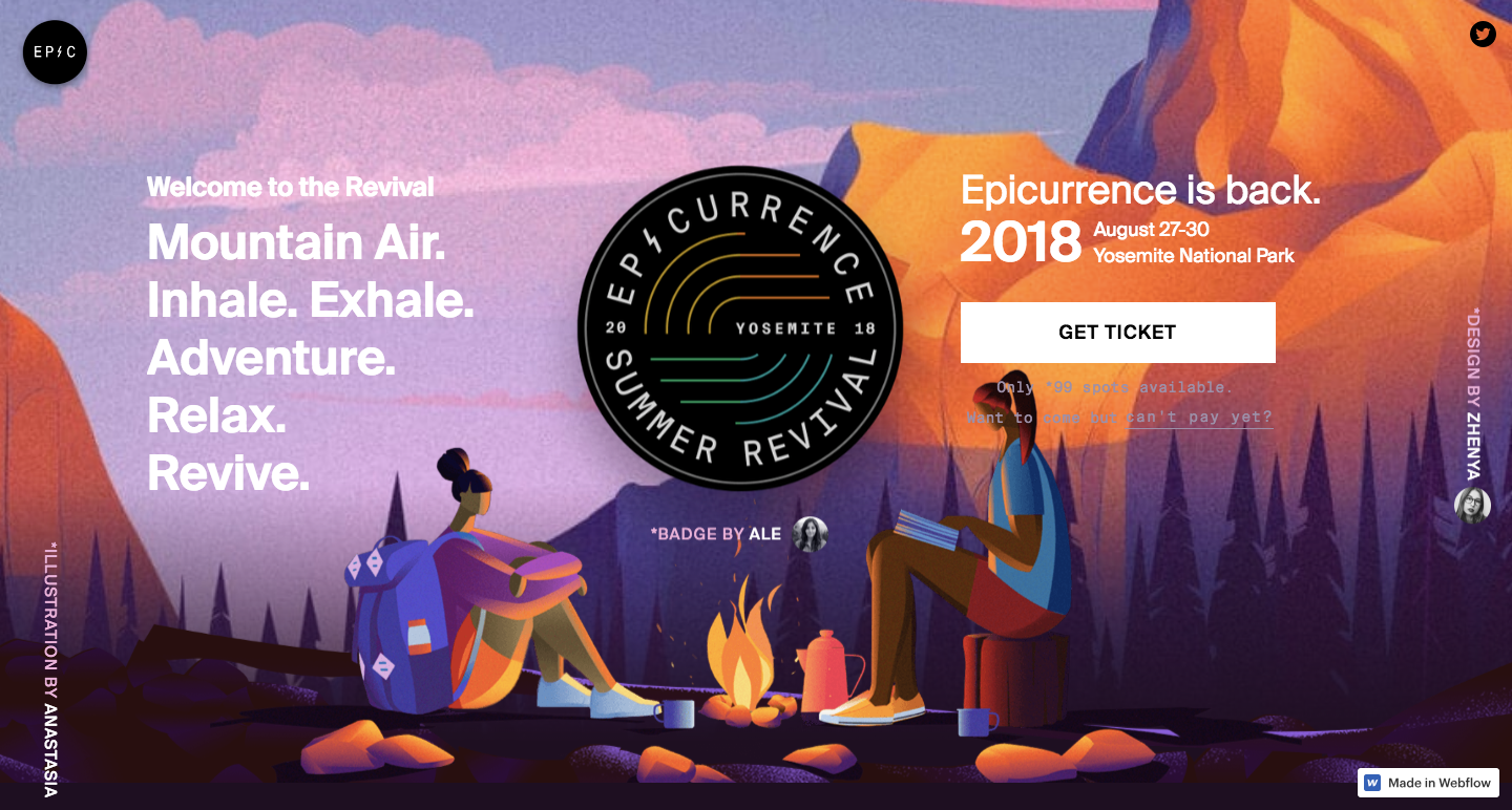 Rebuild of Epicurrence homepage in Webflow.