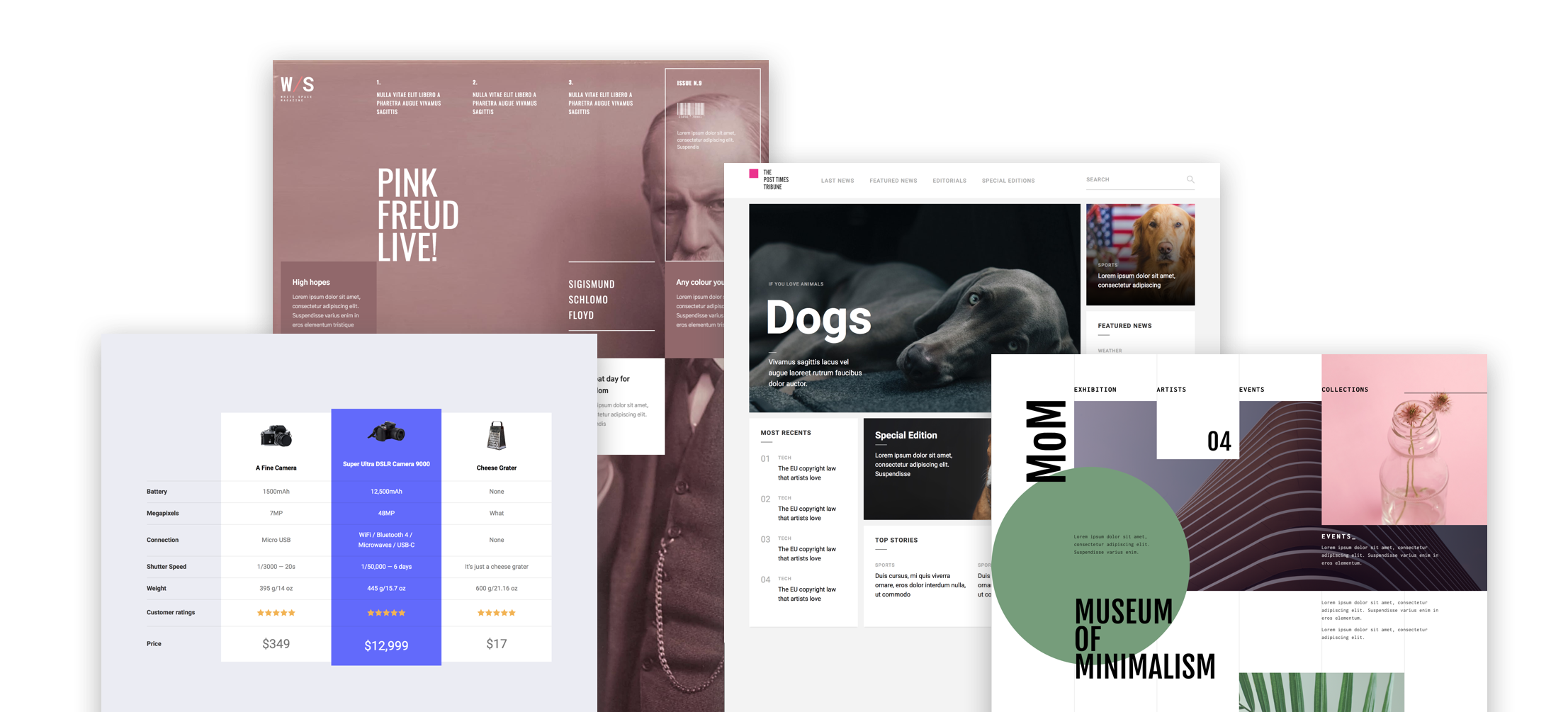 A sampling of layouts that are much easier to build with grid. Hint: we made these four layouts cloneable — click the image to find them in our showcase.