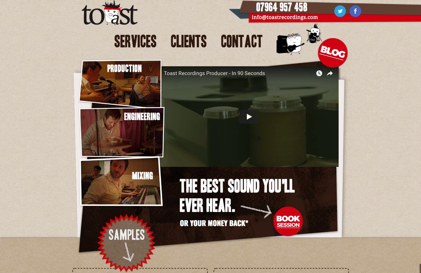 Toast Recording Studio homepage