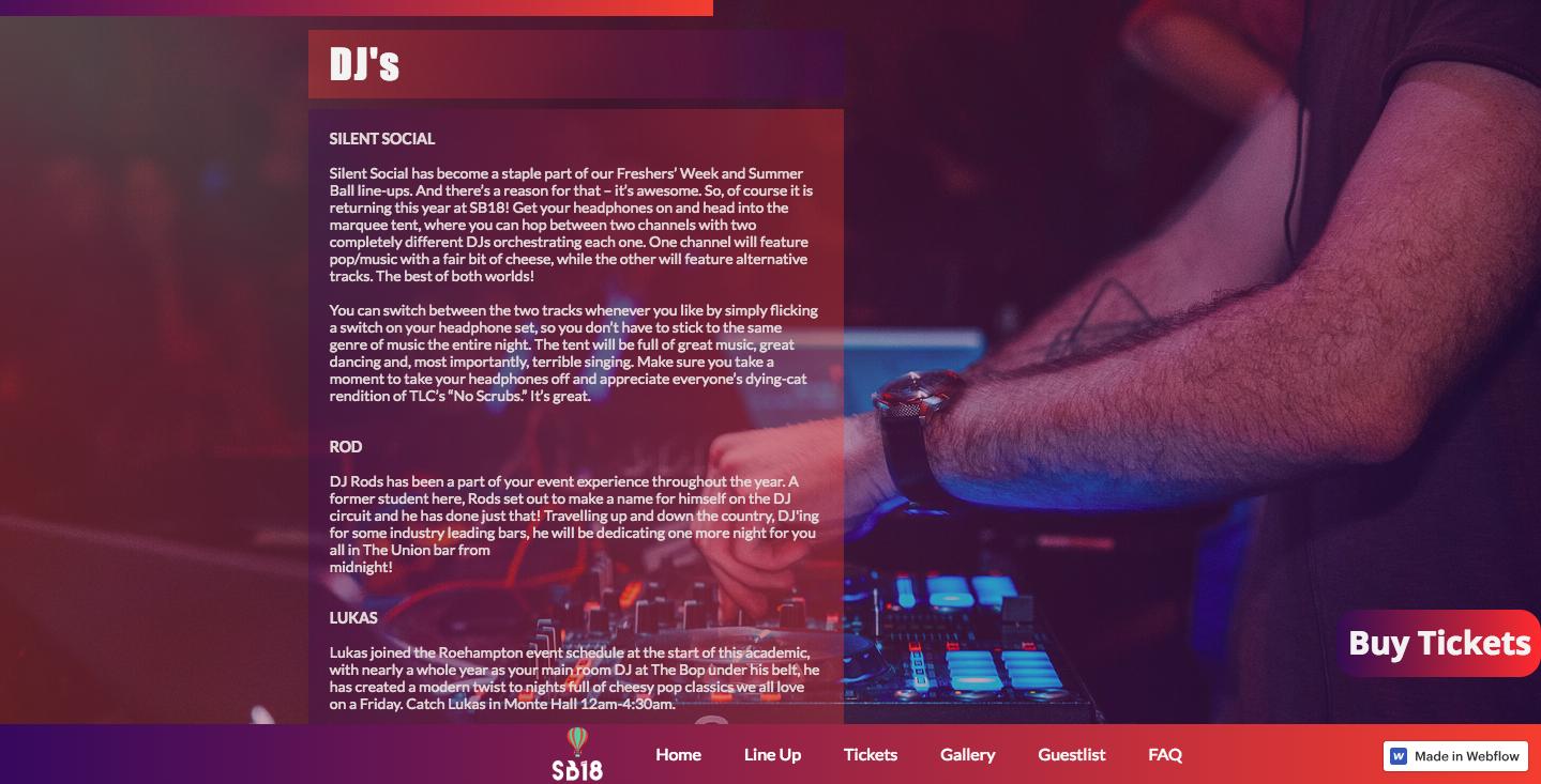 RSU Summer Ball DJ page