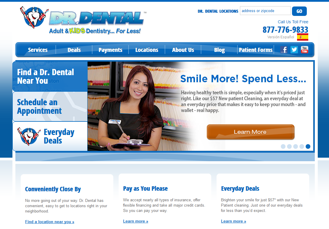 Dental homepage featuring various blues