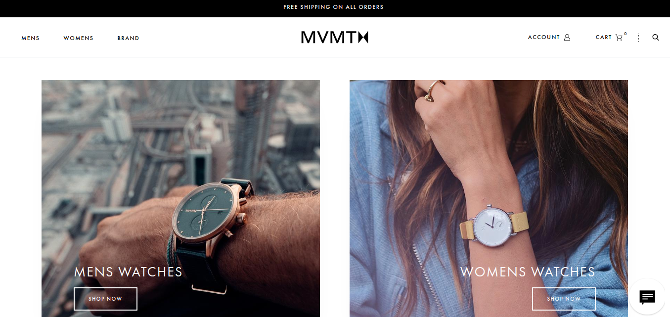 """MVMT homepage broken into two colums, each featuring an image of someone wearing a watch and each with a """"shop now"""" button"""