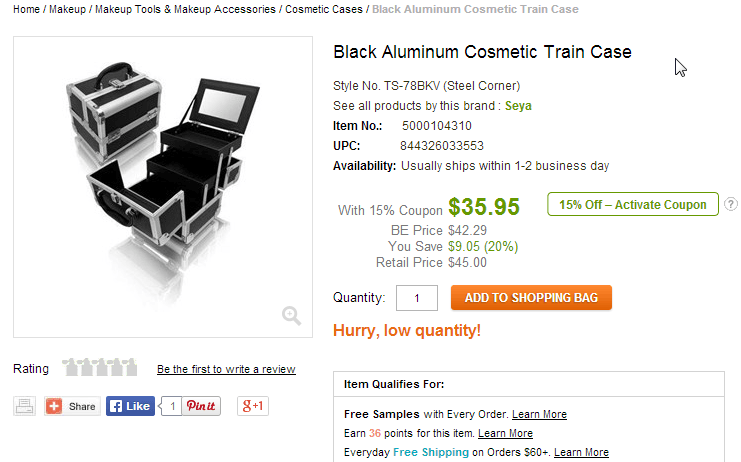 """Ebay page for a cosmetic case with """"Hurry, low quantity"""" in an orange font"""