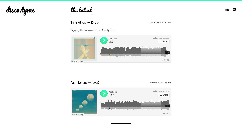 Music blog Disco.tyme embeds tracks with SoundCloud