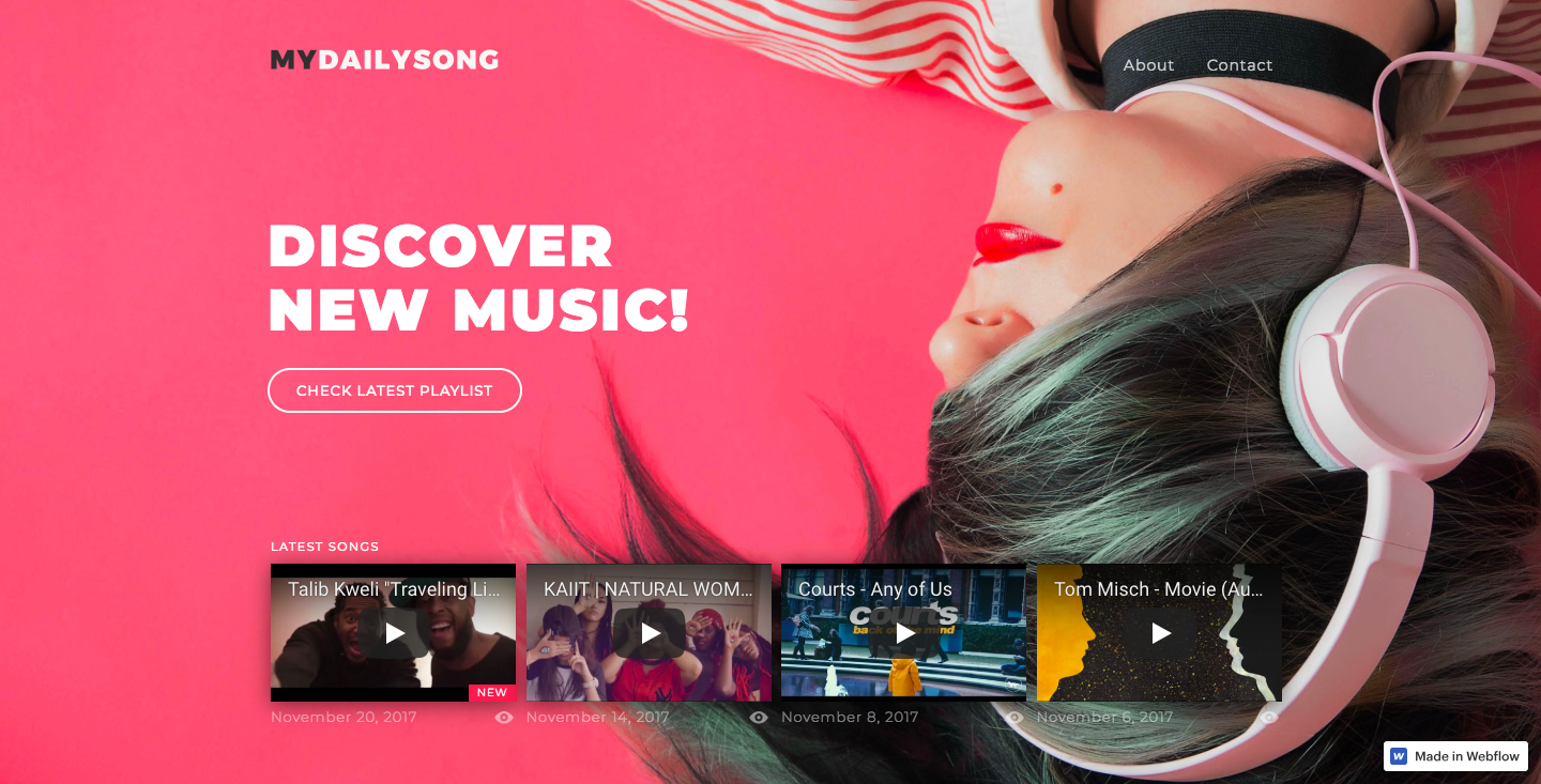 My Daily Song homepage