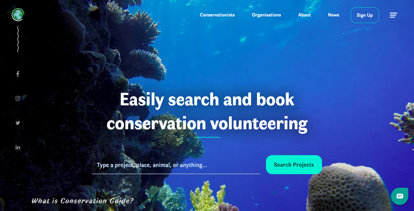 Conservation Guide website homepage