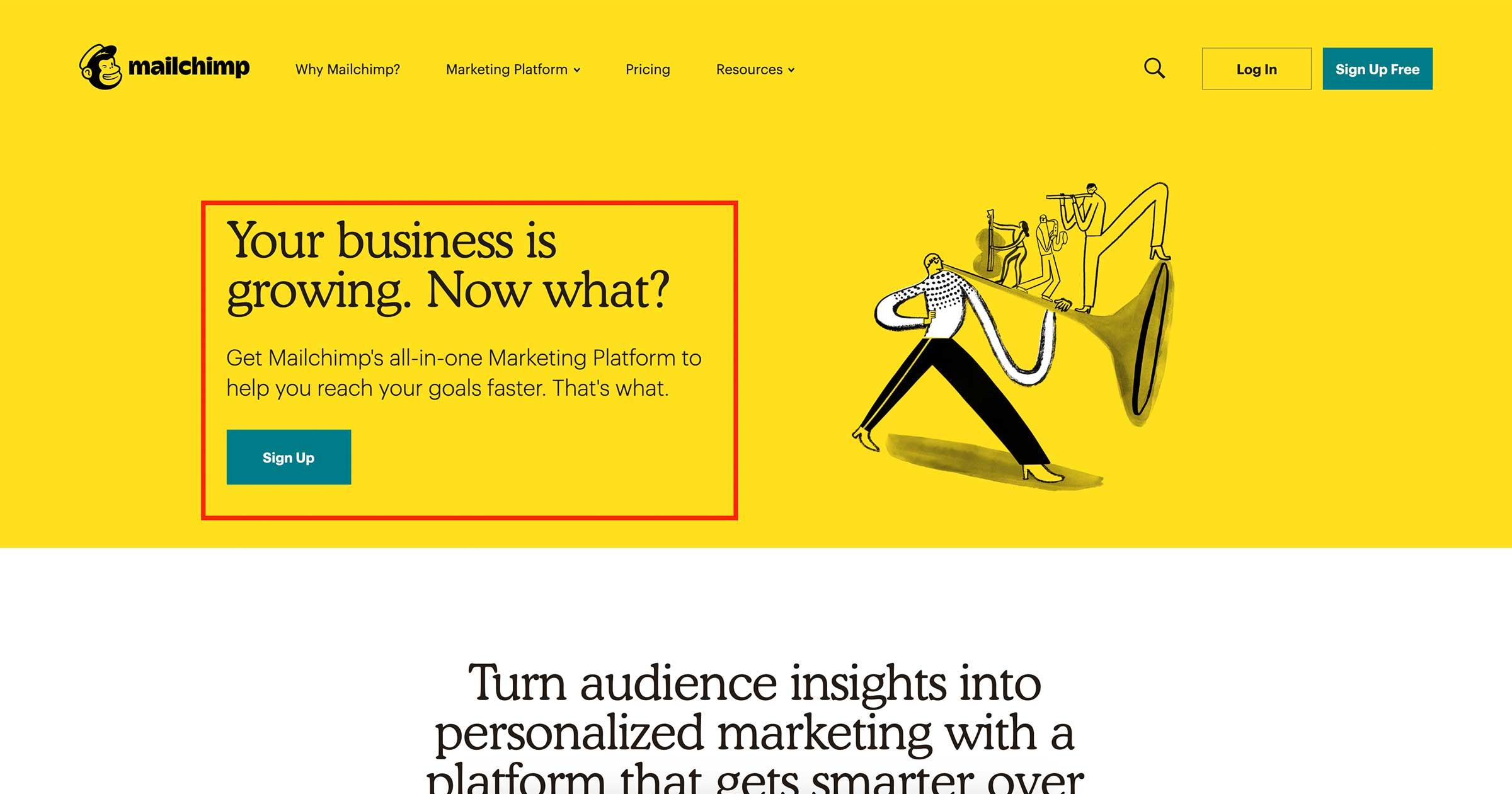 mailchimp marketing platform page
