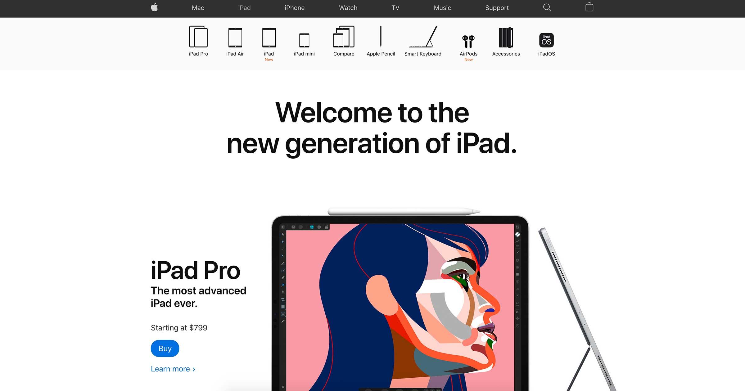 apple ipad page