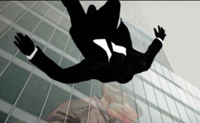 A screenshot of Mad Men's opening sequence. A suited man falls head-first from a skyscraper.