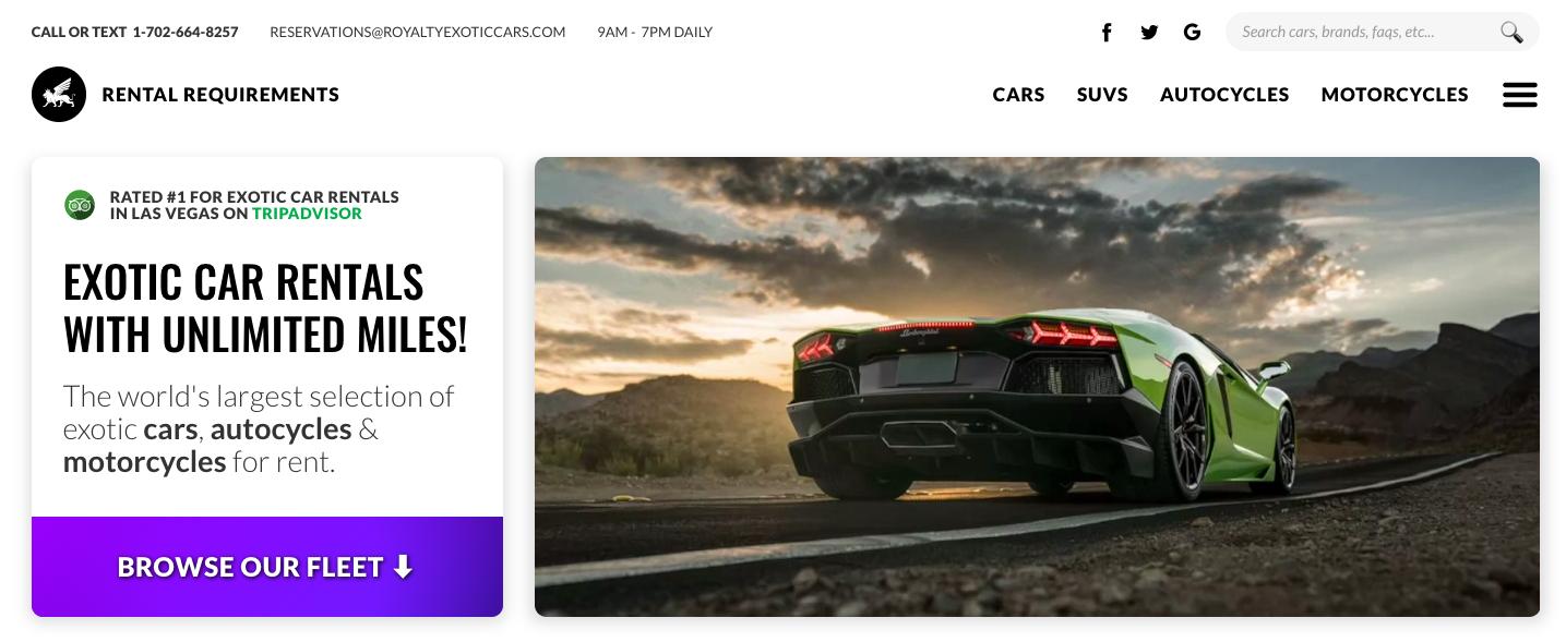 Royalty Exotic Cars homepage hero