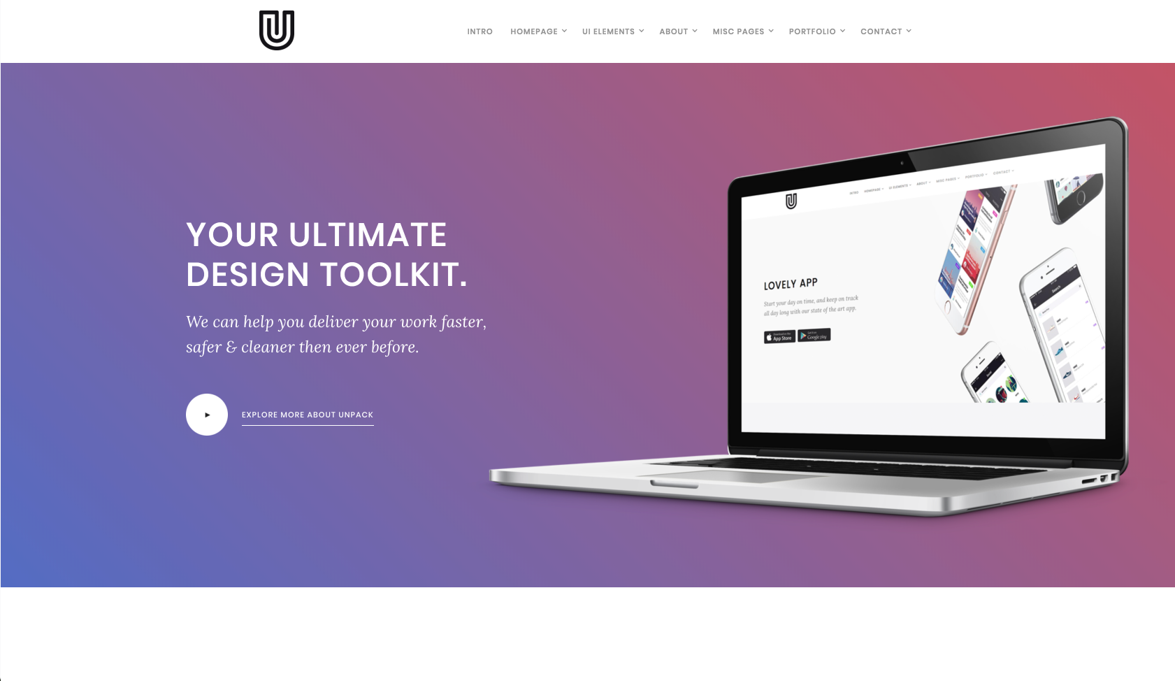 Homepage of a Webflow template called Unpack.