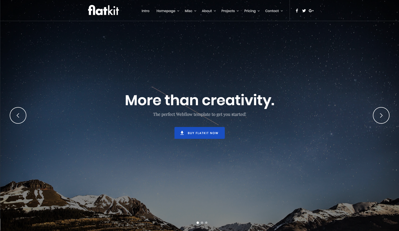 Homepage for a Webflow template called Flatkit.