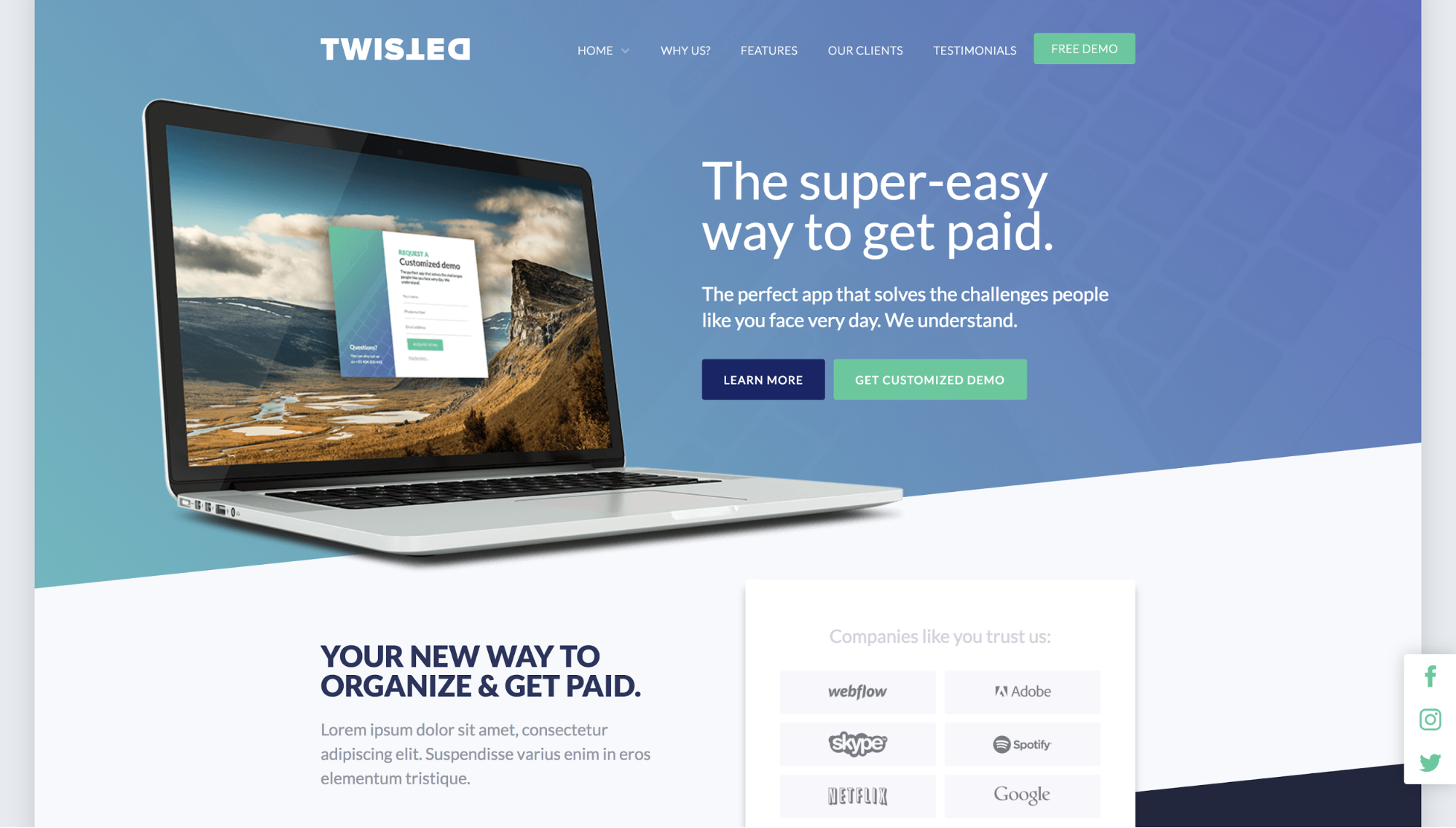 Homepage of a Webflow template called Twisted.