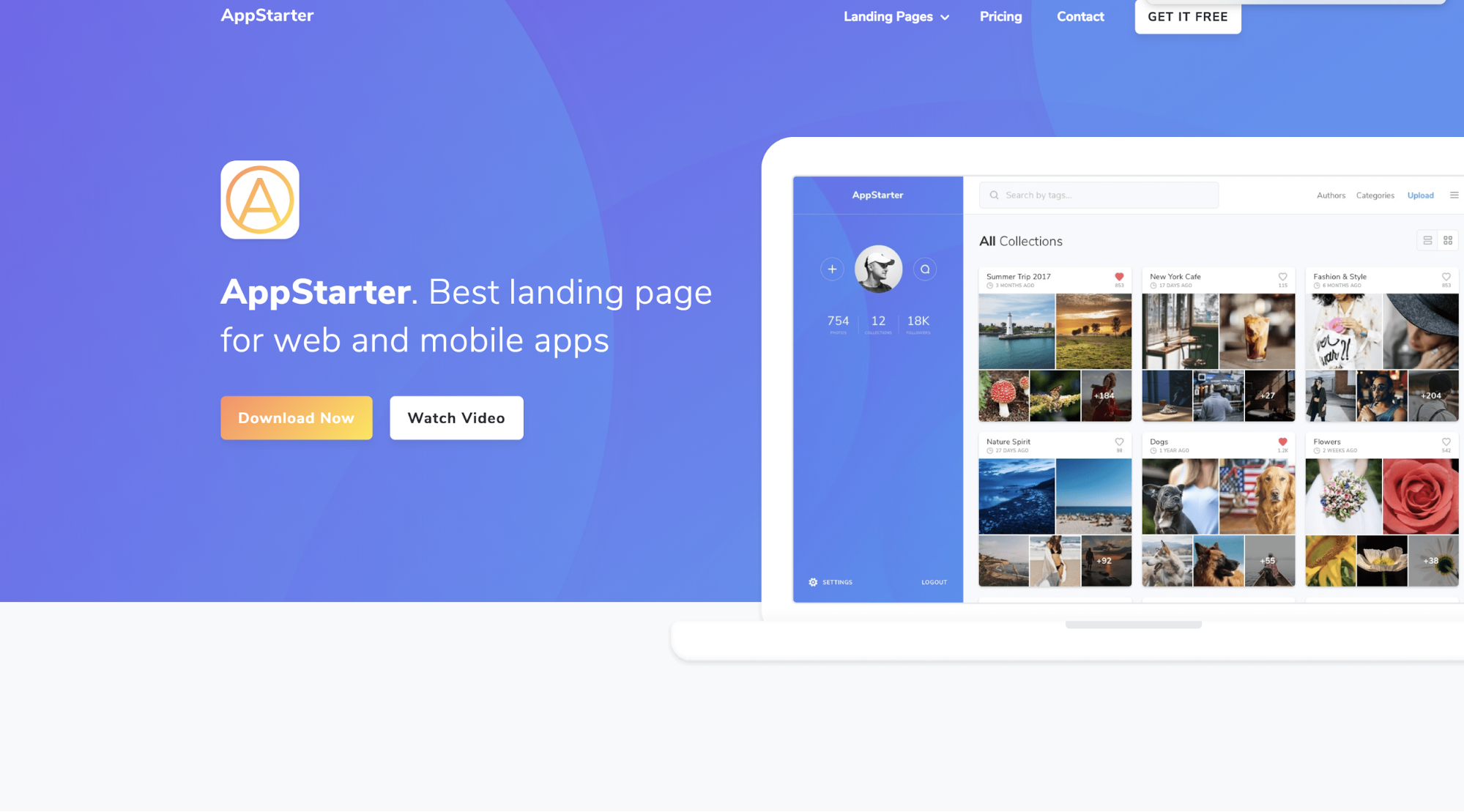 Homepage of Webflow template called AppStarter.
