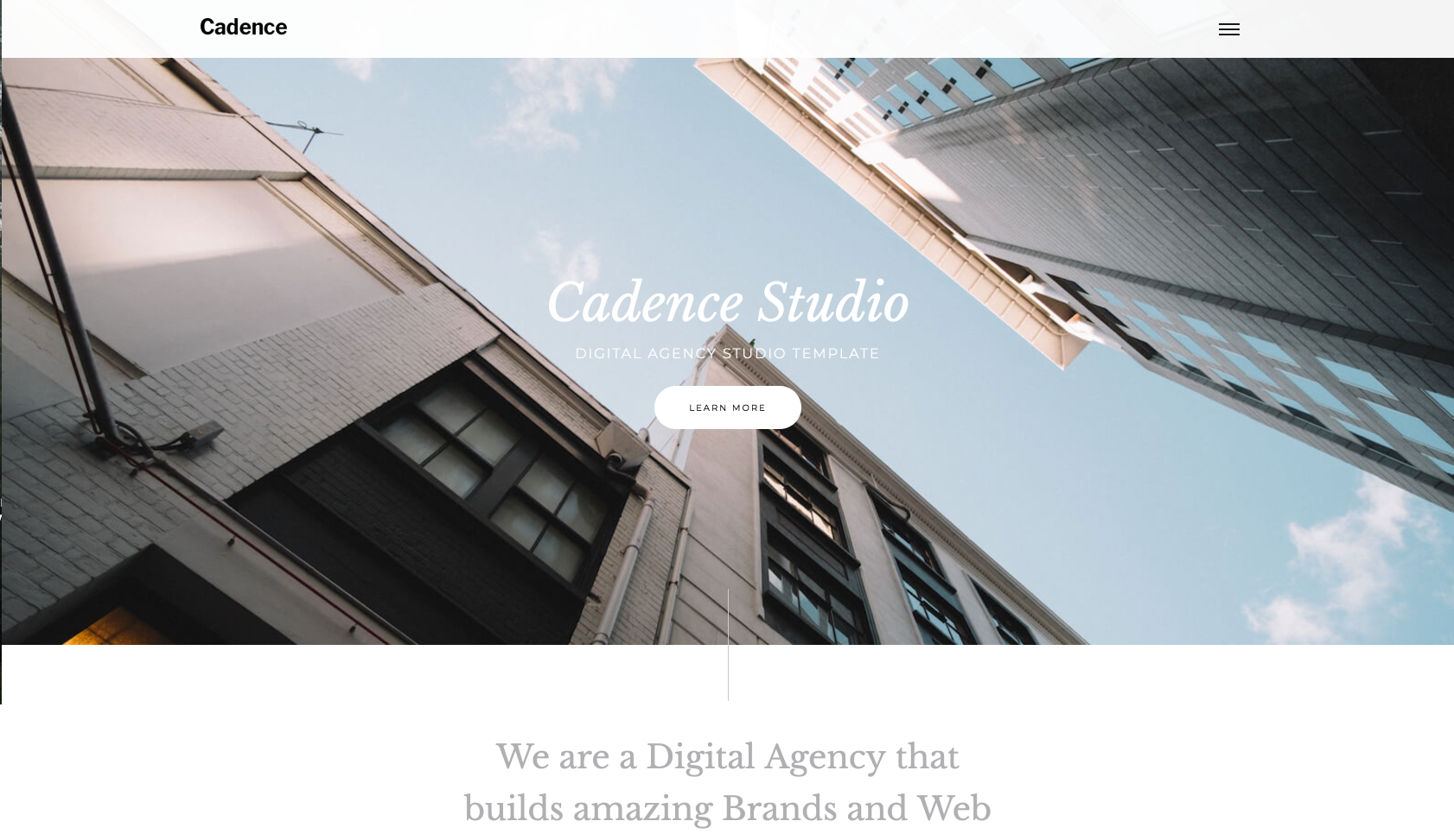 Homepage for Webflow template called Cadence.