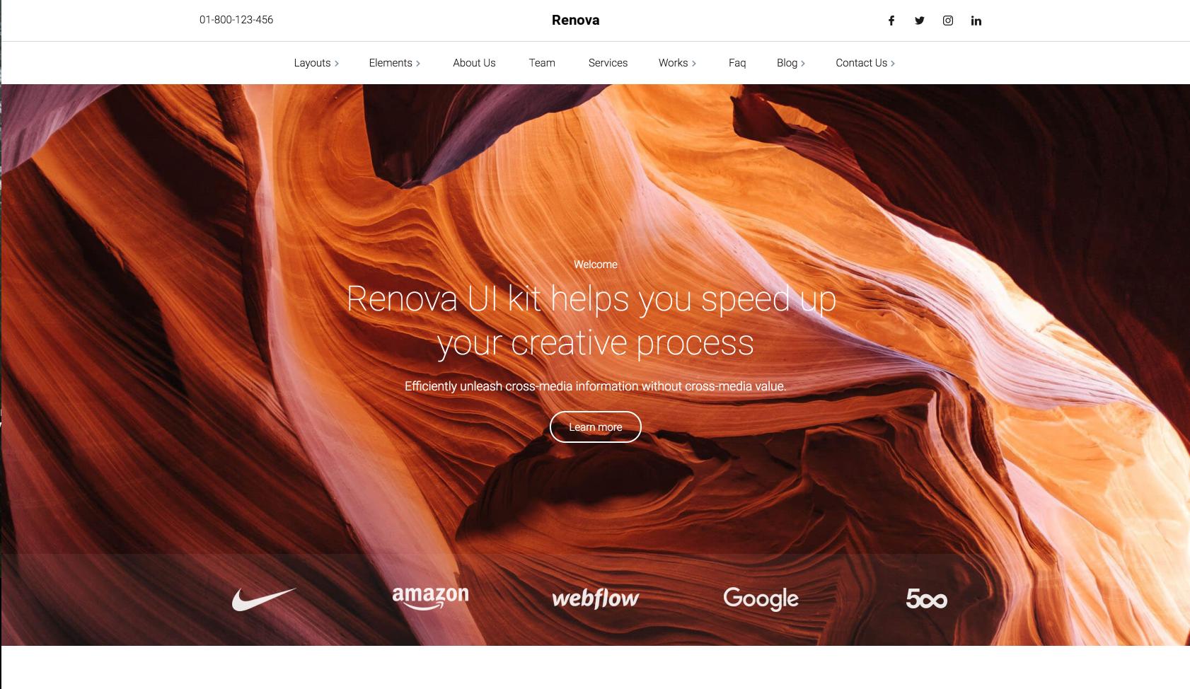 Homepage for Webflow template called Renova.