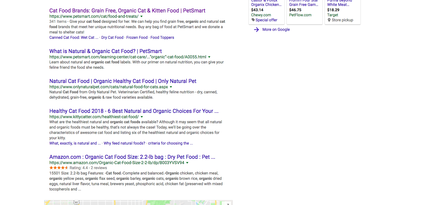 """Google search results for """"organic cat food."""" Petsmart is the first listing."""