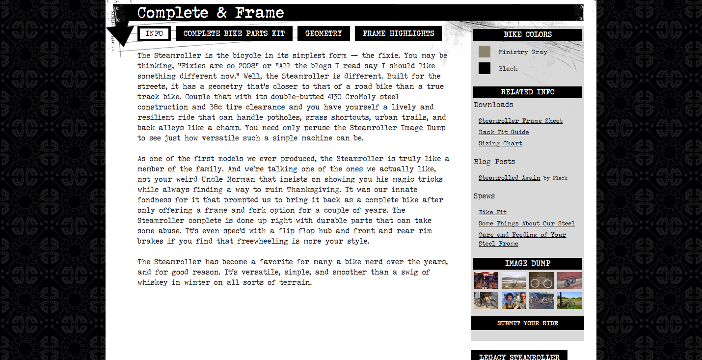 Info page from Surly bike shop site describing their Steamroller bicycle.