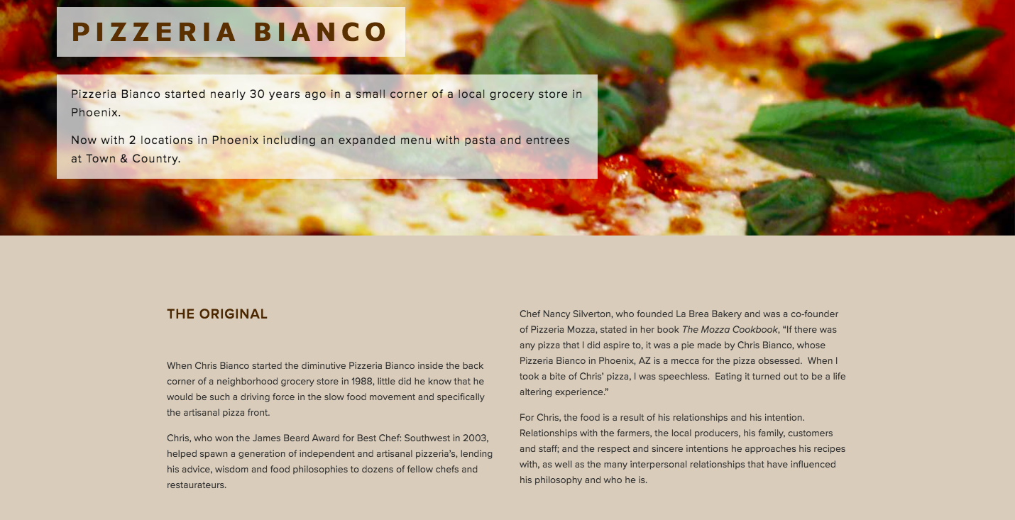 Pizzeria Bianco's About page telling the story behind the pizza with a closeup of a margherita pizza in the hero section.