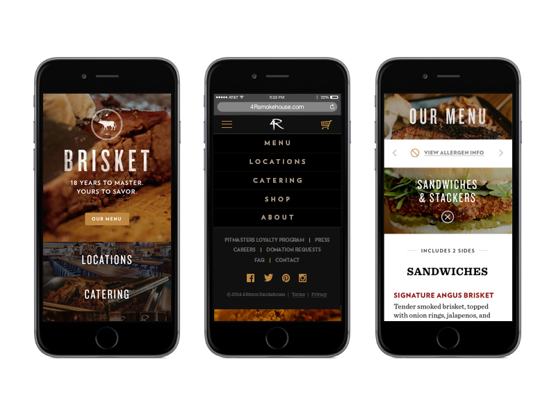 4 Rivers Smokehouse website pages displayed on 3 different iPhone screens to demonstrate its mobile-friendliness.