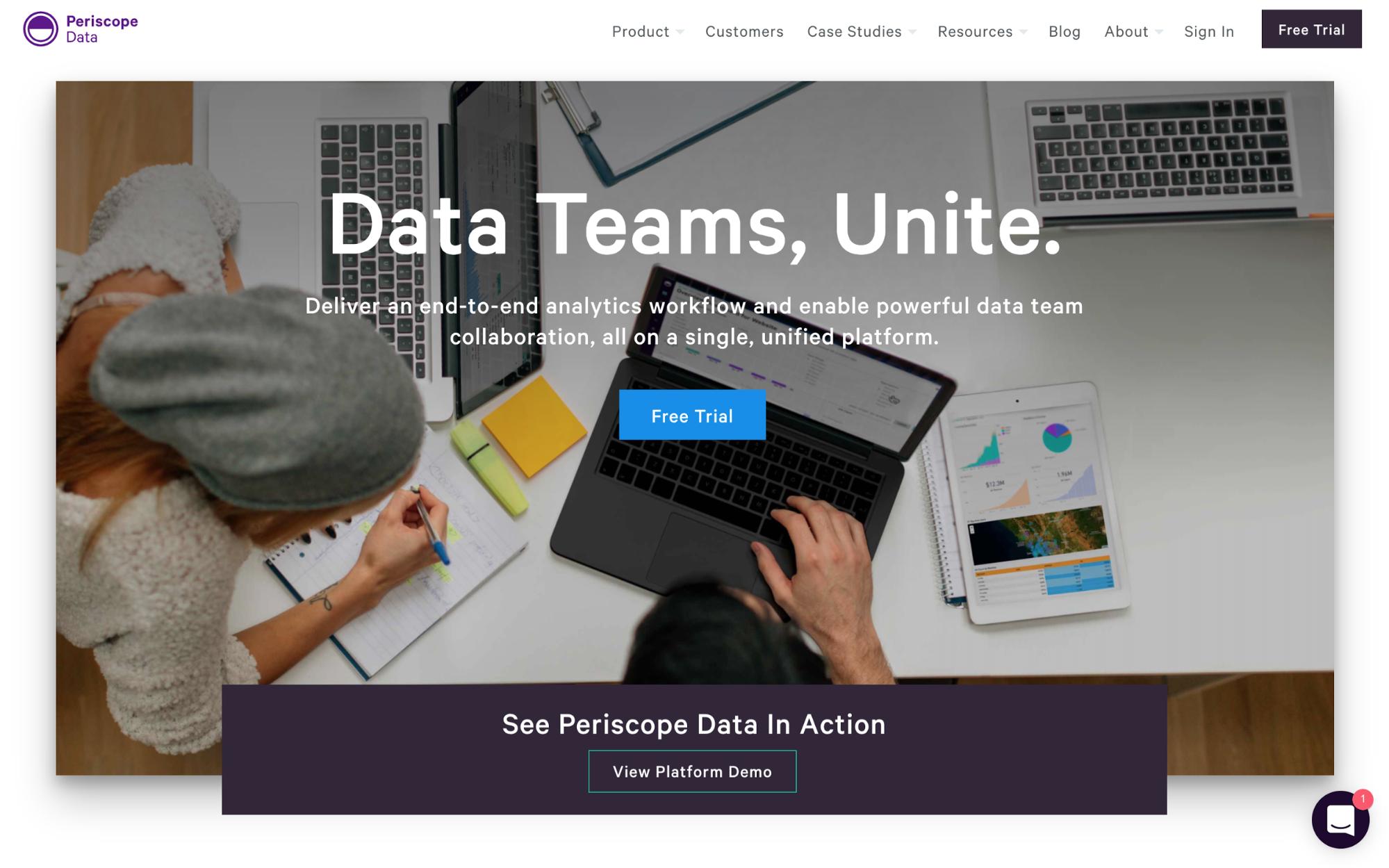 Periscope Data's homepage