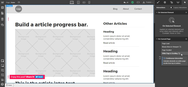 progress bar interactions