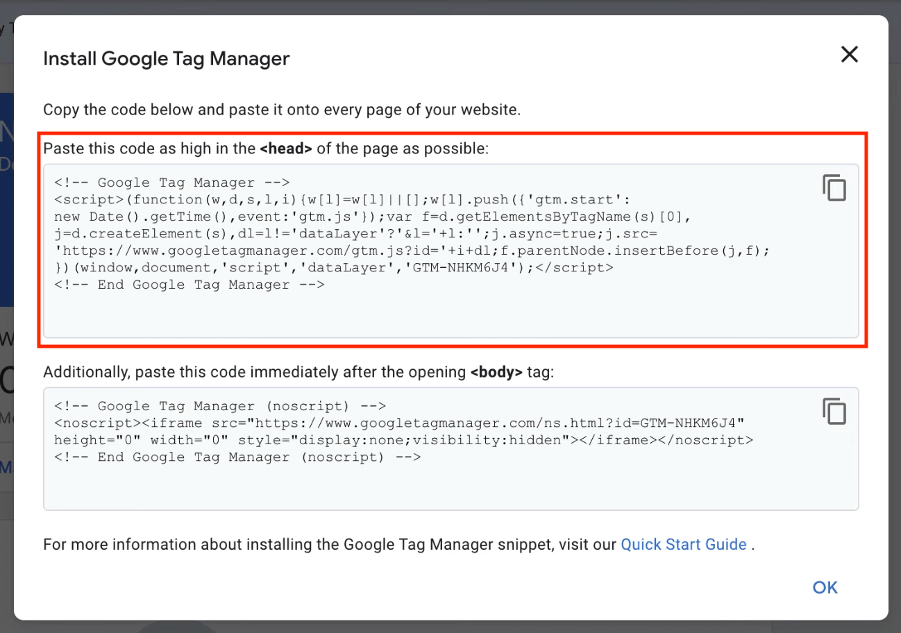 installing google tag manager