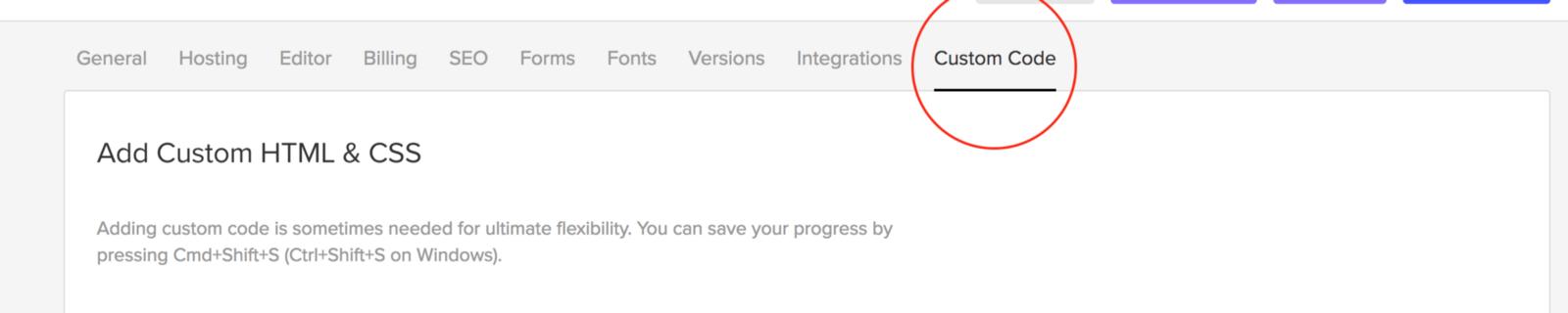 custom code tab in webflow