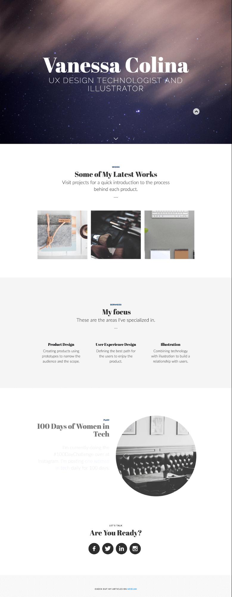 Vanessa Colina's portfolio homepage