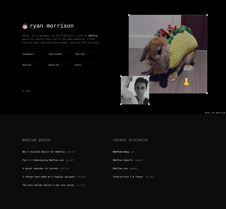 Ryan Morrison's portfolio homepage