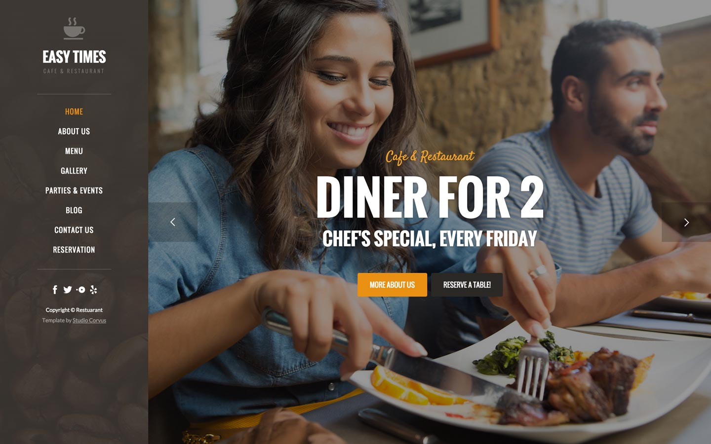 Easy Times cafe and restaurant website template